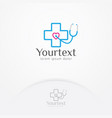 health heart stethoscope logo design vector image vector image