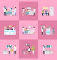 hospital activities on pink vector image