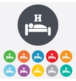 Hotel sign icon Rest place Sleeper symbol vector image vector image