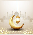 islamic background with golden lantern and moon vector image