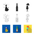 isolated object of party and birthday sign set of vector image vector image
