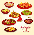malaysian cuisine icon of meat and seafood dish vector image vector image