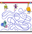 maze game with fantasy characters vector image vector image