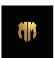 mm logo monogram with gold colors and shield vector image vector image