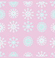 pink and blue snowflakes christmas seamless vector image vector image