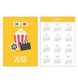 pocket calendar 2018 year week starts sunday 3d vector image vector image