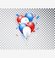realistic balloons composicion in red blue and vector image
