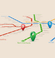 relistic abstract blured map of subway routes in vector image