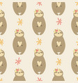seamless pattern with cute sloths inflower wreaths vector image vector image