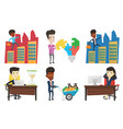 set of business characters vector image vector image