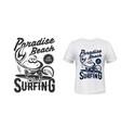 t-shirt marine print surfing club paradise beach vector image vector image