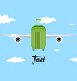 travel bag with airplane wings icon vector image