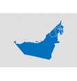 united arab emirates map - high detailed blue map vector image vector image