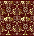 vintage gold royal damask seamless pattern on the vector image vector image