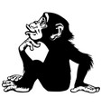 web cartoon chimp in thinker profile black and whi vector image