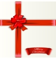 White background with red bow and ribons vector image vector image