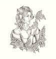 woman and butterfly handdrawn vector image