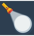 Yellow flashlight in flat style on dark background vector image