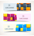 3d cubes banners set vector image vector image