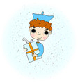 a boy holding a gift in a vector image vector image