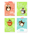 arctic penguins christmas holiday greeting cards vector image vector image