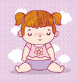 baby girl with pigtails and diaper over clouds vector image