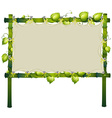 Bamboo sign with vine around frame vector image
