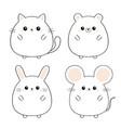 bear mouse cat kitten kitty rabbit hare icon set vector image vector image