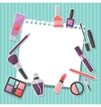 Beauty background with icons cosmetics vector image vector image