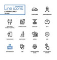 car features - line design icons set vector image