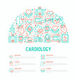 cardiology concept in half circle vector image vector image