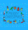 christmas greeting card with people with gifts vector image