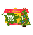 christmas sale 50 sticker vector image