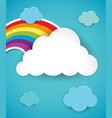 colorful rainbow in blue sky vector image vector image