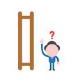 confused businessman wooden ladder with missing vector image