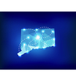 Connecticut state map polygonal with spot lights vector image vector image