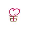 creative gift love heart symbol logo vector image