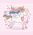 cute unicorn running with hearts and hairstyle vector image