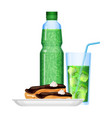 fizzy drinks in bottle and cup with food vector image