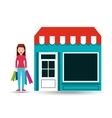 girl standing store shopping gift buying vector image vector image