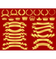 gold bannerlaurel wreath and crown set vector image vector image
