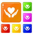 hands holding heart icons set color vector image vector image