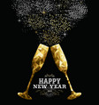 happy new year 2019 toast glass low polygon gold vector image vector image