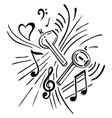 headphones and music notes sketch vector image vector image