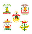 icons set for mexican restaurant vector image vector image