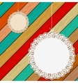 Lace frame on colorful wooden background EPS8 vector image vector image