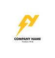 letter n thunder bolt design logo vector image vector image