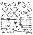 love elements black arrows and hearts vector image vector image