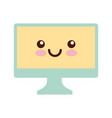 monitor computer desktop kawaii character vector image vector image