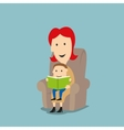 Mother and son reading book in armchair vector image vector image